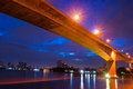 Krungthep Bridge before sunrise  in Thailand. Royalty Free Stock Images