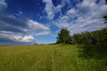 Krusne hory mountains in summer day near krasny les village Stock Image