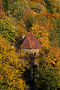 Ksiaz castle in autumn with colourful plants Stock Image