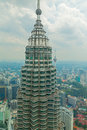 Kuala lumpur aug closeup view petronas tower august kuala lumpur malaysia days national day petronas tallest twin buildings world Royalty Free Stock Photography