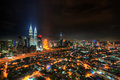 Kuala lumpur city at night is the capital of malaysia Royalty Free Stock Photo