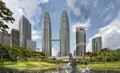 Kuala Lumpur City Skyline from KLCC Park Royalty Free Stock Photos