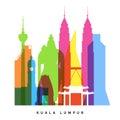 Kuala lumpur landmarks bright collage vector illustration Royalty Free Stock Photo