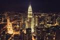 Kuala Lumpur,Malaysia,December 19,2013:KL Petronas Towers at nig Royalty Free Stock Photo