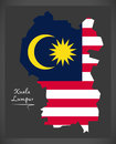 Kuala Lumpur Malaysia map with Malaysian national flag illustrat