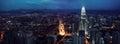 KUALA LUMPUR, MALAYSIA, NOVEMBER 22: Kuala Lumpur skyline at night, view of the centre city from TV tower November 22