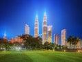 Kuala Lumpur night Scenery in the park, Malaysia Royalty Free Stock Photo