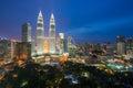 Kuala lumpur skyscraper at night in Malaysia Royalty Free Stock Photo
