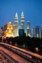 Kuala Lumpur skyscraper night scenery during blue hour. Royalty Free Stock Photo