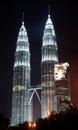 Kuala lumpur twin towers petronas in malaysia at night Royalty Free Stock Photos