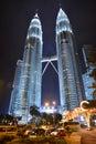 Kuala lumpur twin towers petronas in malaysia at night Royalty Free Stock Image