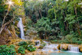Kuang si waterfall tad kwangsi or is depend at luangprabang laos mean as same Royalty Free Stock Images