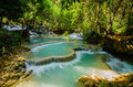 Kuang si waterfall tad kwangsi or is depend at luangprabang laos mean as same Royalty Free Stock Photos