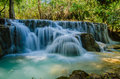 Kuang si waterfall tad kwangsi or is depend at luangprabang laos mean as same Royalty Free Stock Image