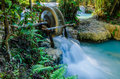 Kuang si waterfall tad kwangsi water wheel or is depend at luangprabang laos mean as same Royalty Free Stock Photos