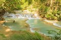 Kuang si waterfalls at laos beautiful Royalty Free Stock Image