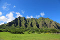 Kuaola ranch oahu hawaii landscape with cliffs of Royalty Free Stock Photo
