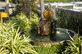 Kugel fountain or stone sphere fountains spining water decor of garden in outdoor at chinese garden