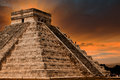 Kukulkan pyramid in chichen itza site mexico yucatan Royalty Free Stock Images