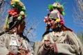 Kulturell procesion under den Ladakh festivalen Arkivbilder