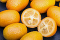 Kumquat fruits (or cumquats) citric fruit on a cup of glass. Royalty Free Stock Photo