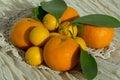 Kumquats and tangerines citrus fruits on lacy napkin Stock Photos
