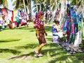 Kuna women, Panama, with traditional art works - Molas