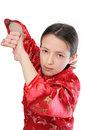 Kung fu girl blow Stock Images
