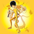 Kungfu master wearing yellow jumpsuit playing nunchucks with dragon tatoo Royalty Free Stock Photo