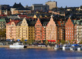 Kungsholmen in stockholm waterfront with beautiful buildings area Stock Photography