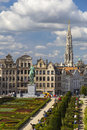 Kunstberg or mont des arts mount of the arts gardens as seen from the elevated vantage point in brussels belgium Royalty Free Stock Image