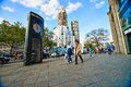 Kurfuersterdamm street and kaiser wilhelm memorial church in berlin on Royalty Free Stock Photos