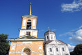 Kuskovo park in Moscow. Belfry and church Royalty Free Stock Photo