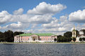Kuskovo park in Moscow. Palace museum and church Royalty Free Stock Photo