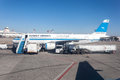 Kuwait airways airplane dec at the international airport december in city middle east Stock Photo