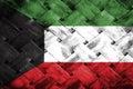 Kuwait flag, flag on the wood Royalty Free Stock Photo