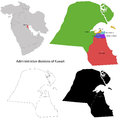 Kuwait map administrative division of the state of Stock Photos