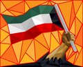 Kuwait National Day Concept - Hand Holding Flag Royalty Free Stock Photo