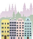 Kv buildings vector illustration of european and town landscape Royalty Free Stock Photography