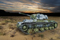 Kv klim voroshilov soviet heavy tank in the night landscape from world war ii desert Stock Photography