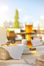 Kwak beer on the served table outdoors photo Stock Photos