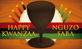 Kwanzaa Design with Traditional Cup, Candles, Label and Flag, Vector Illustration