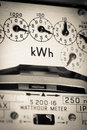 KWh Electric meter and dials Royalty Free Stock Photo