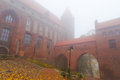 Kwidzyn castle and cathedral in foggy weather Stock Photography