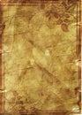 Kwiecista grunge rama na starym pergaminu .old papierze z kwiecistym patt Fotografia Royalty Free