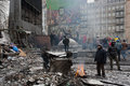 Kyiv ukraine active people burn fire past barricades after night fights on the destroyed winter street during the riot anti Stock Image