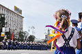 Kyiv, Ukraine - August 24, 2014: The little girl looks at the military march during parade of the Independence Day of Ukraine Royalty Free Stock Photo