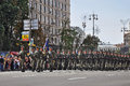 Kyiv, Ukraine - August 24, 2014: Military men marching during the parade of the Independence Day of Ukraine on the main square of Royalty Free Stock Photo