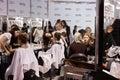 Kyiv, Ukraine - February 4, 2017: Makeup artists at work. Backst