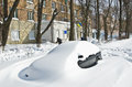 Kyiv ukraine march abandoned cars street covered deep snow spring kyiv ukraine march abundant snowfalls have paralyzed traffic Stock Image